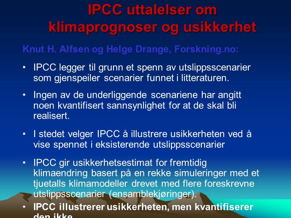 IPCC uttalelser om klimaprognoser og usikkerhet