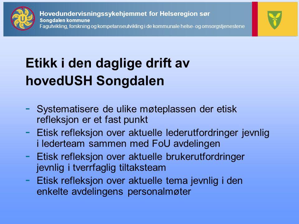 Etikk i den daglige drift av hovedUSH Songdalen