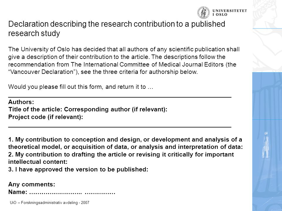 Declaration describing the research contribution to a published research study