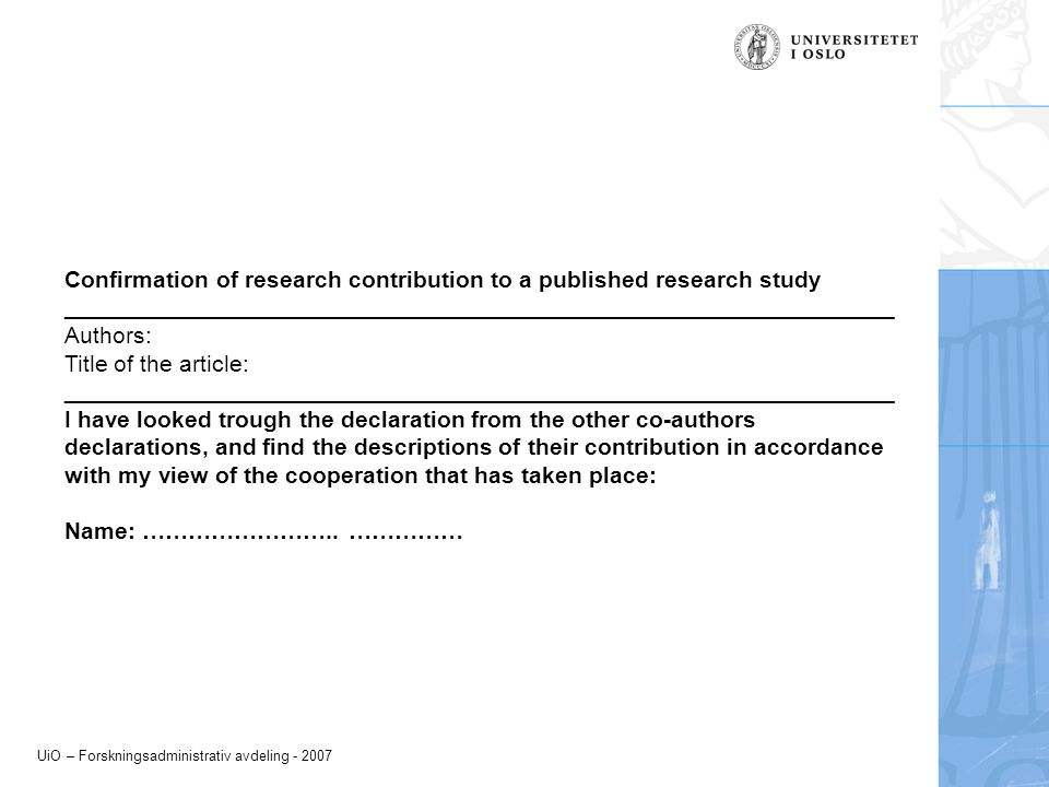Confirmation of research contribution to a published research study