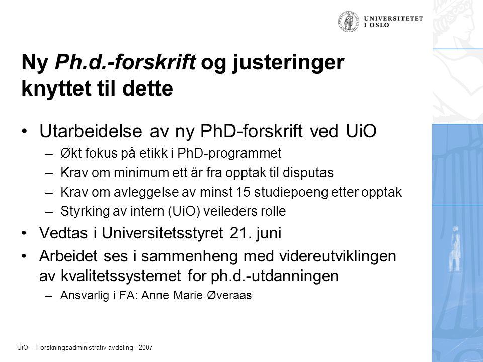 Ny Ph.d.-forskrift og justeringer knyttet til dette