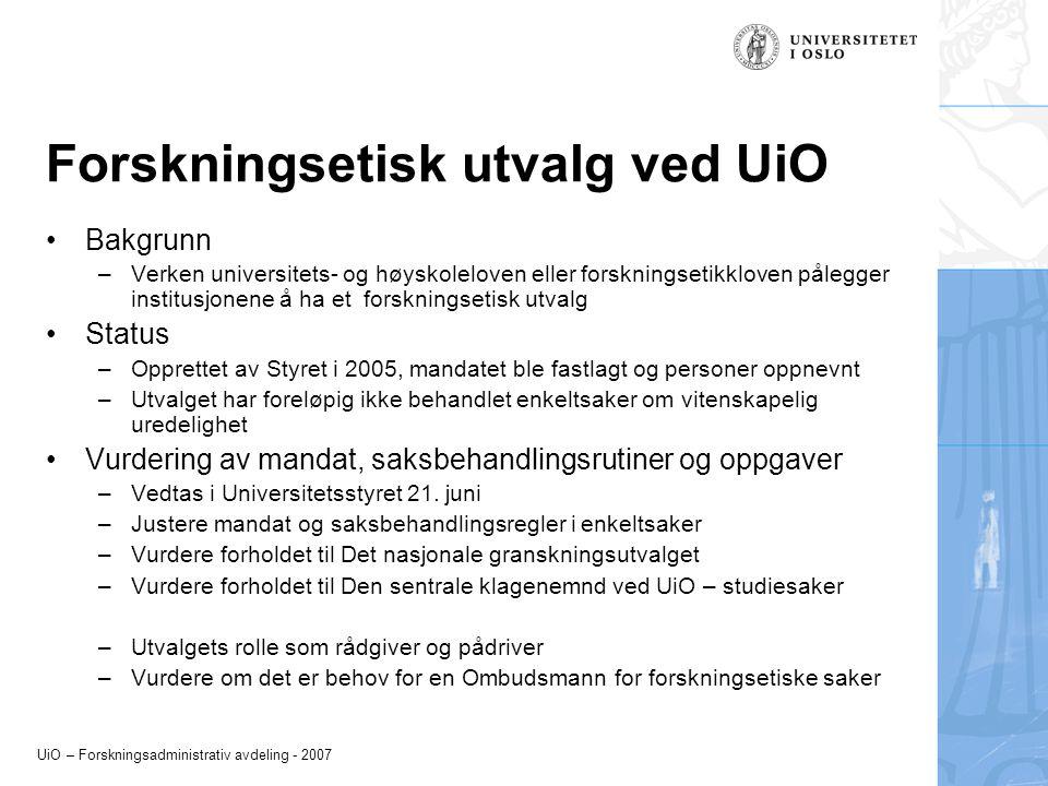 Forskningsetisk utvalg ved UiO