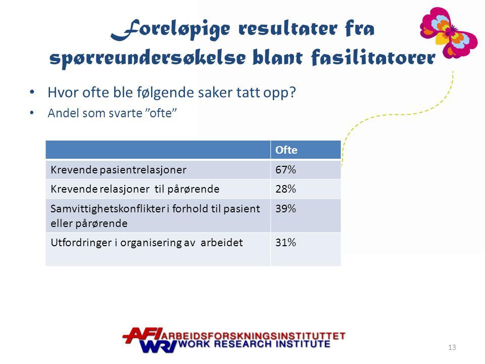 Foreløpige resultater fra spørreundersøkelse blant fasilitatorer