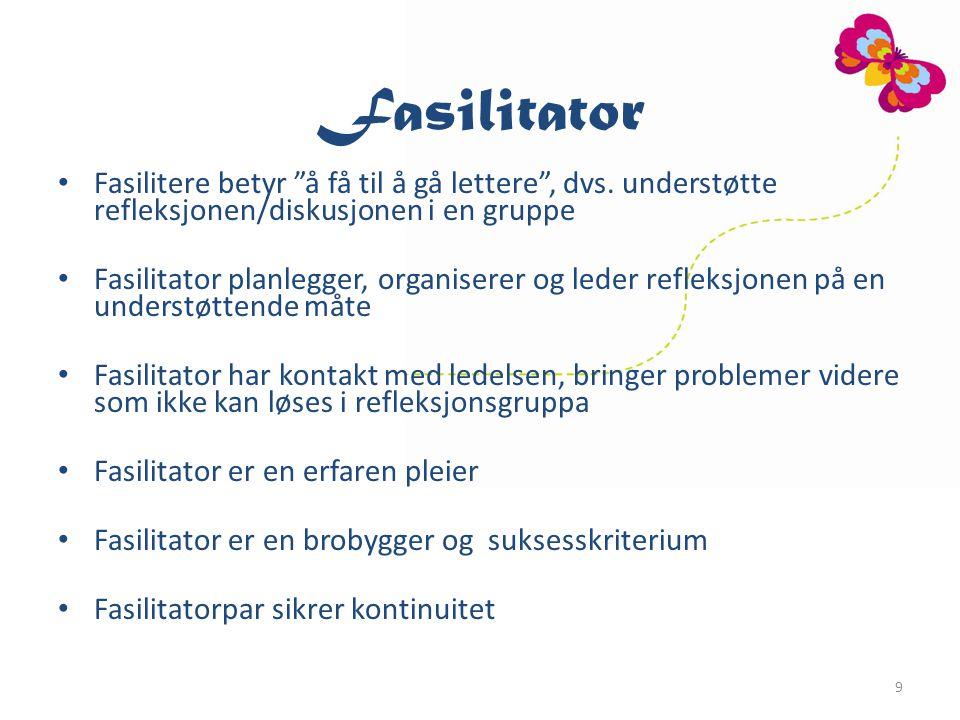 Fasilitator Fasilitere betyr å få til å gå lettere , dvs. understøtte refleksjonen/diskusjonen i en gruppe.