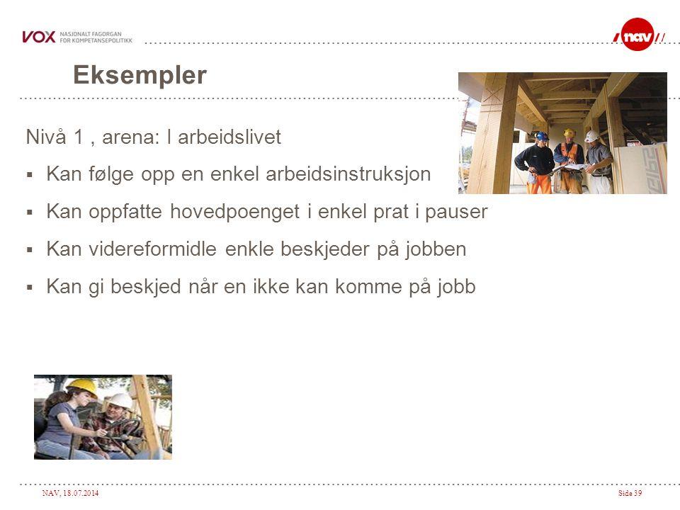 Eksempler Nivå 1 , arena: I arbeidslivet