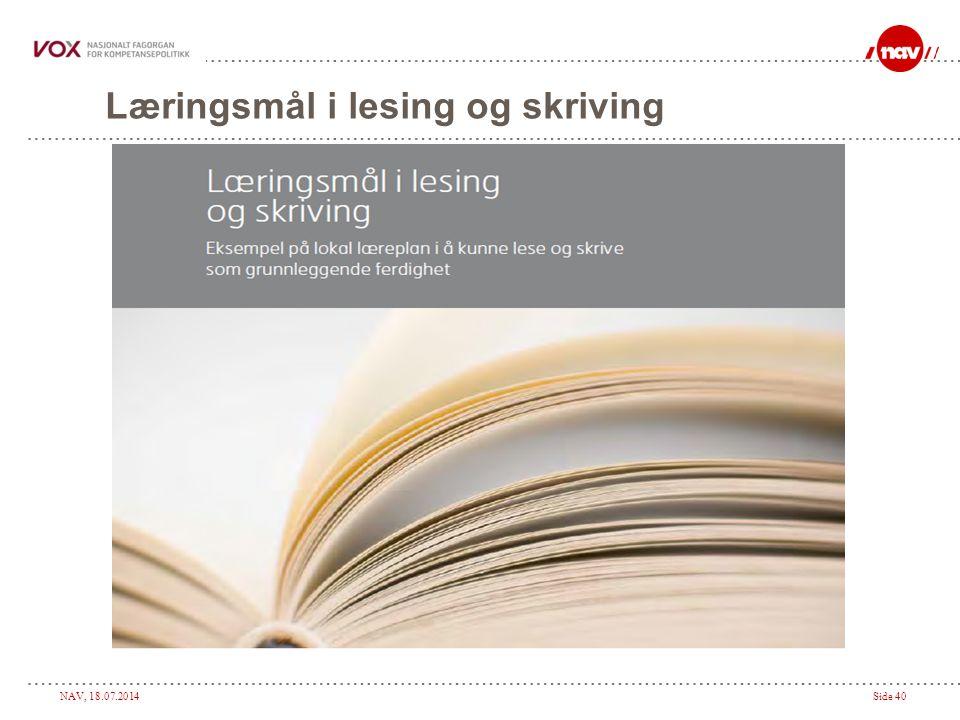 Læringsmål i lesing og skriving