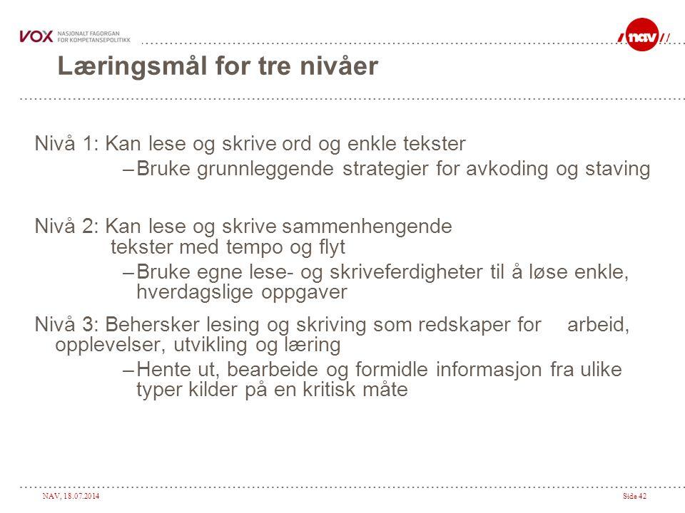 Læringsmål for tre nivåer