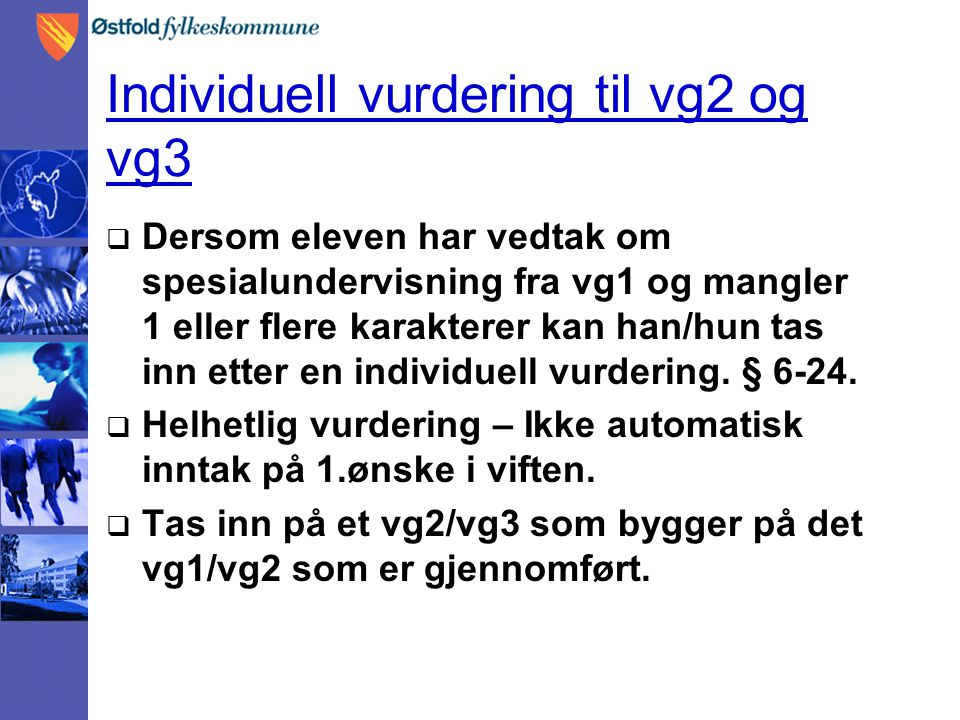 Individuell vurdering til vg2 og vg3