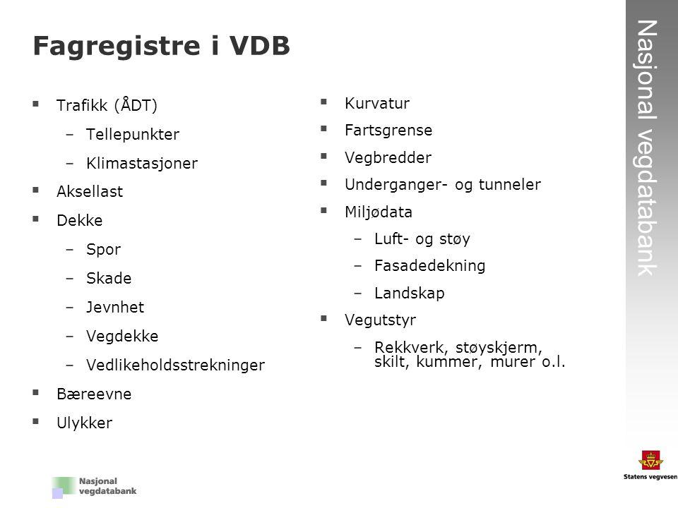Fagregistre i VDB Trafikk (ÅDT) Tellepunkter Klimastasjoner Aksellast