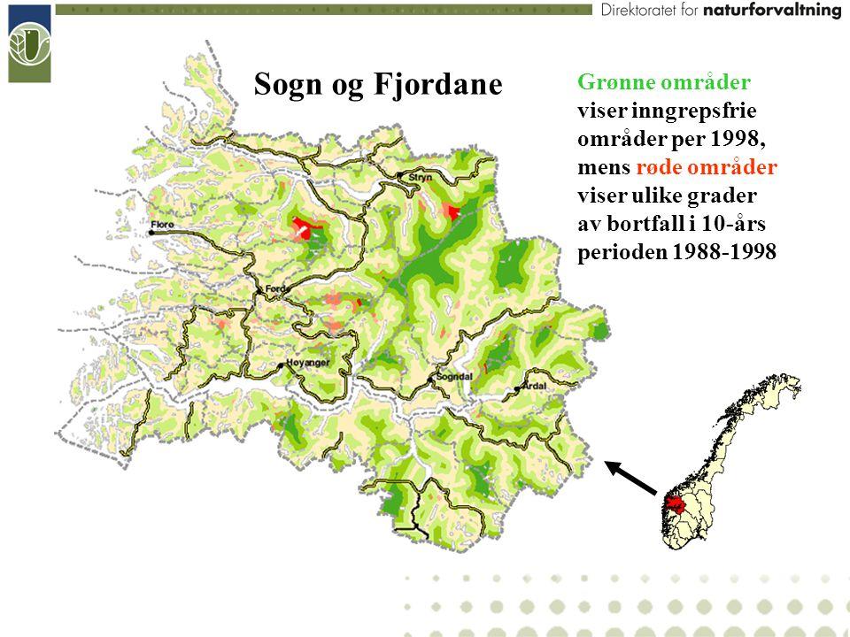 Sogn og Fjordane Grønne områder viser inngrepsfrie områder per 1998, mens røde områder viser ulike grader.