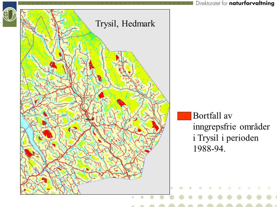 Trysil, Hedmark Bortfall av inngrepsfrie områder i Trysil i perioden 1988-94.