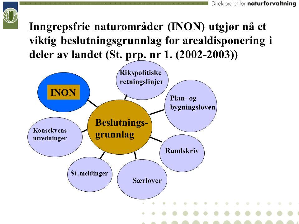 Inngrepsfrie naturområder (INON) utgjør nå et viktig beslutningsgrunnlag for arealdisponering i deler av landet (St. prp. nr 1. (2002-2003))