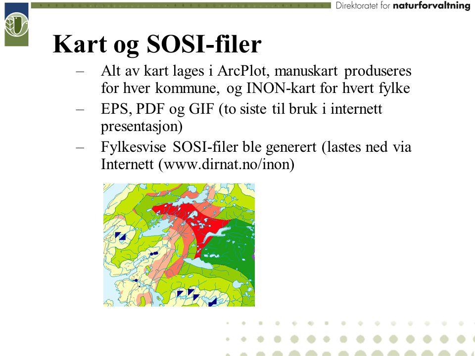 Kart og SOSI-filer Alt av kart lages i ArcPlot, manuskart produseres for hver kommune, og INON-kart for hvert fylke.