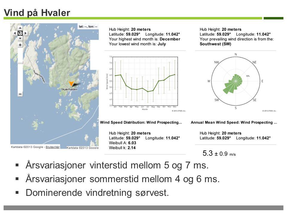 Vind på Hvaler Årsvariasjoner vinterstid mellom 5 og 7 ms. Årsvariasjoner sommerstid mellom 4 og 6 ms.