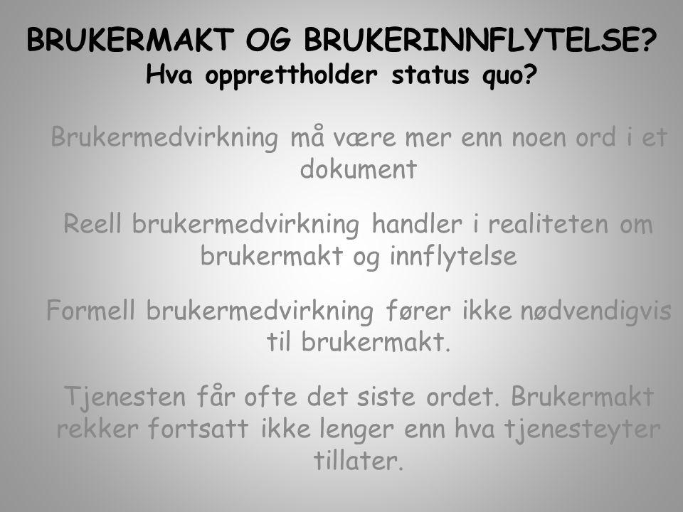 BRUKERMAKT OG BRUKERINNFLYTELSE Hva opprettholder status quo