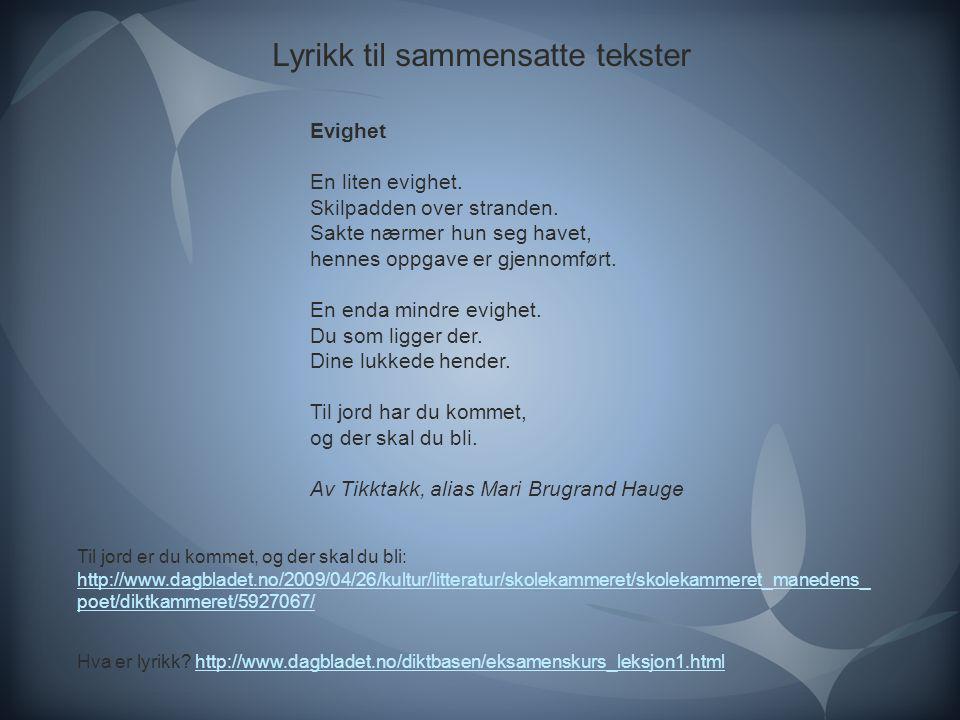 Lyrikk til sammensatte tekster