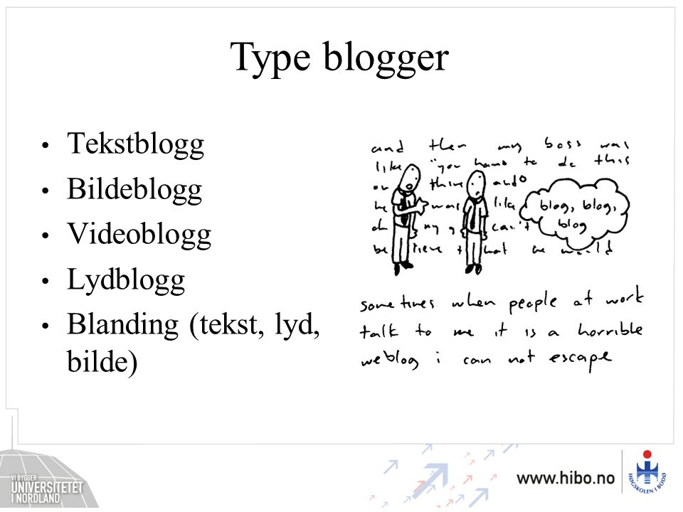 Type blogger Tekstblogg Bildeblogg Videoblogg Lydblogg