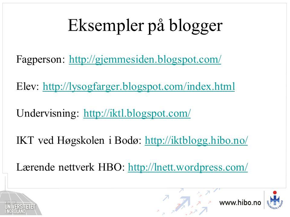 Eksempler på blogger Fagperson: http://gjemmesiden.blogspot.com/