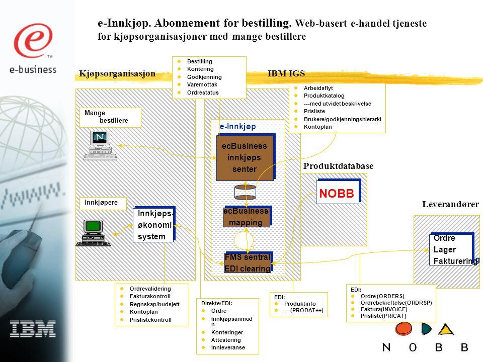 e-Innkjøp. Abonnement for bestilling. Web-basert e-handel tjeneste