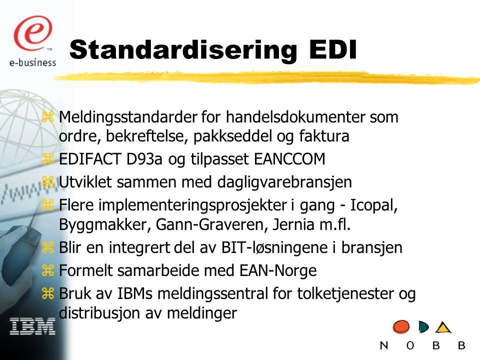 Standardisering EDI Meldingsstandarder for handelsdokumenter som ordre, bekreftelse, pakkseddel og faktura.
