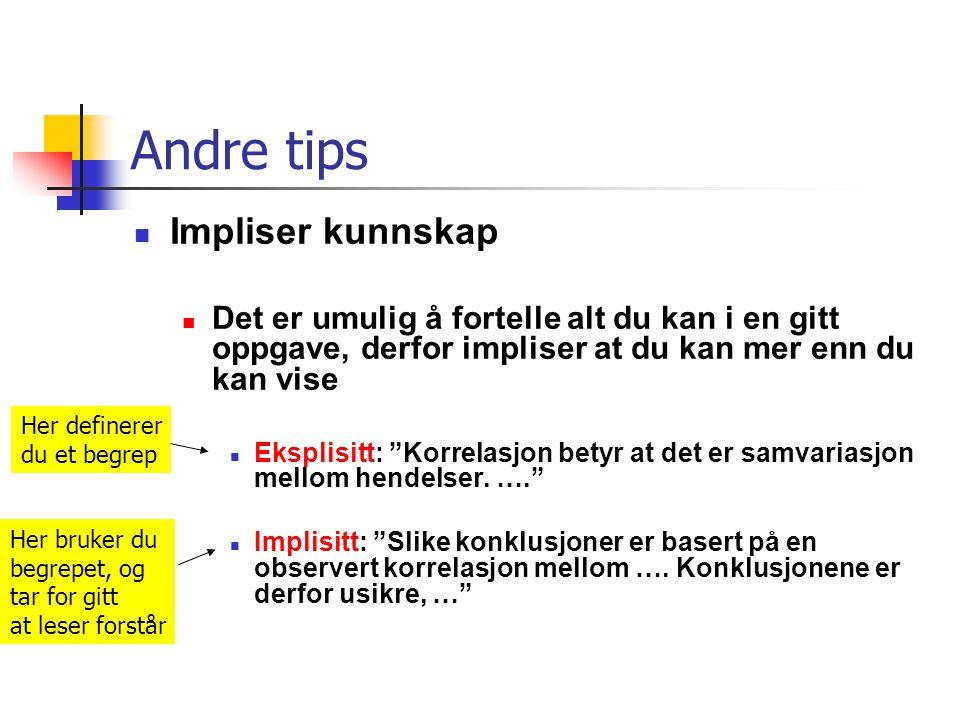 Andre tips Impliser kunnskap