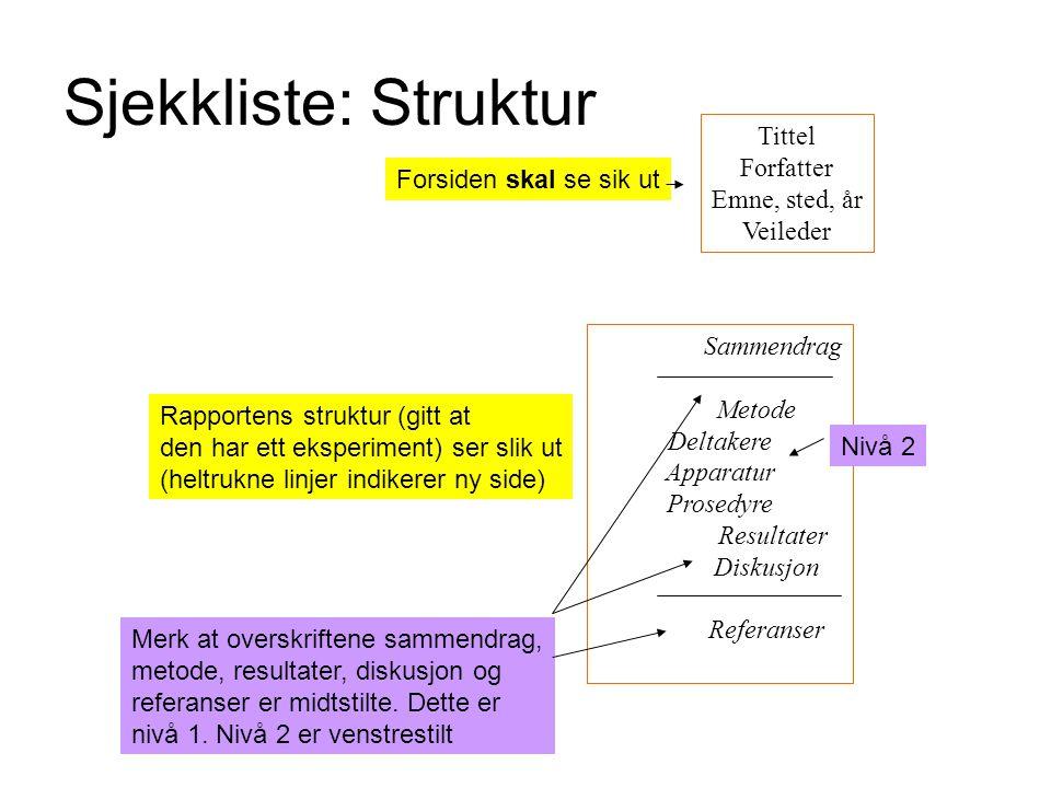 Sjekkliste: Struktur Tittel Forfatter Emne, sted, år