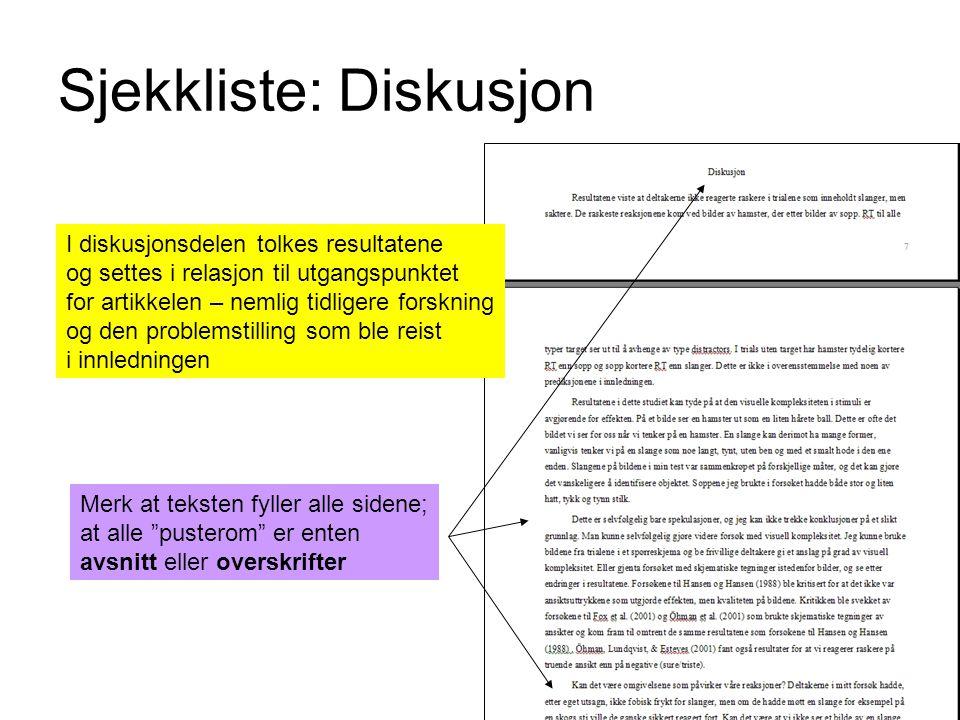 Sjekkliste: Diskusjon