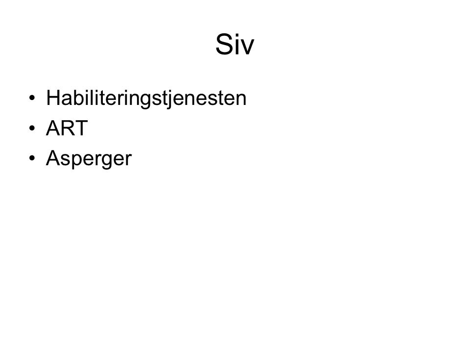 Siv Habiliteringstjenesten ART Asperger