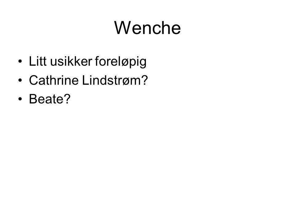 Wenche Litt usikker foreløpig Cathrine Lindstrøm Beate