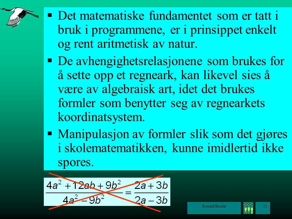 Det matematiske fundamentet som er tatt i bruk i programmene, er i prinsippet enkelt og rent aritmetisk av natur.