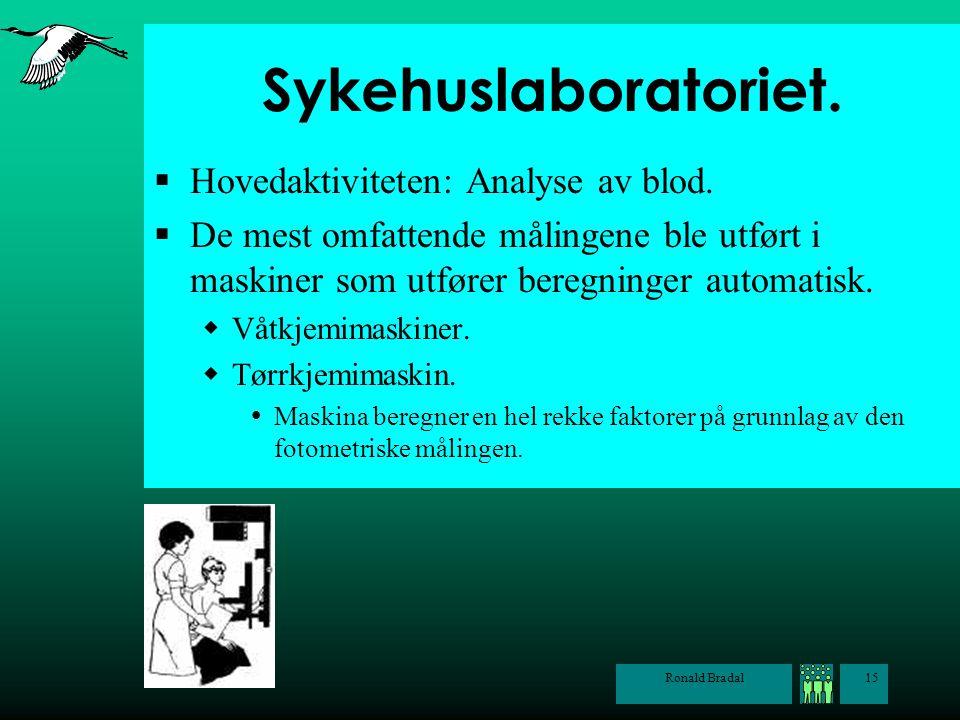 Sykehuslaboratoriet. Hovedaktiviteten: Analyse av blod.