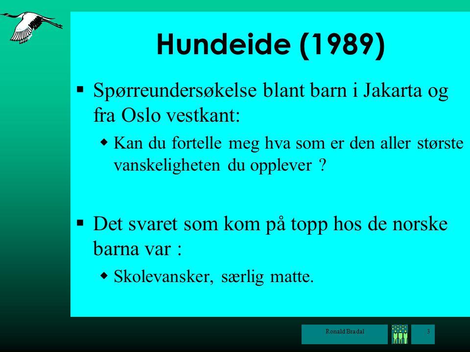Hundeide (1989) Spørreundersøkelse blant barn i Jakarta og fra Oslo vestkant:
