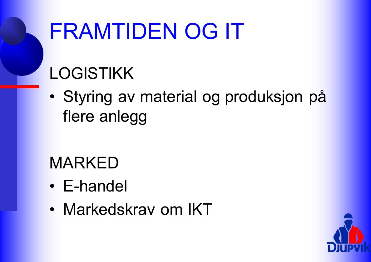 FRAMTIDEN OG IT LOGISTIKK