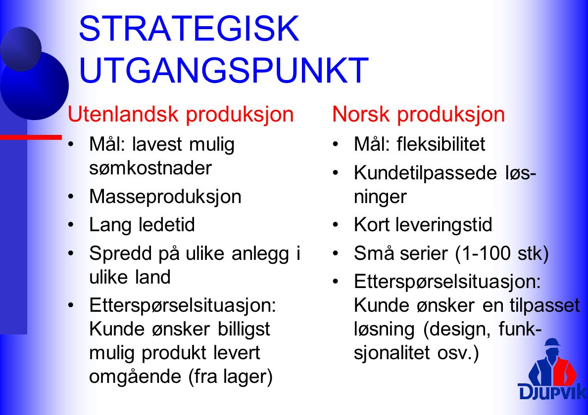 STRATEGISK UTGANGSPUNKT