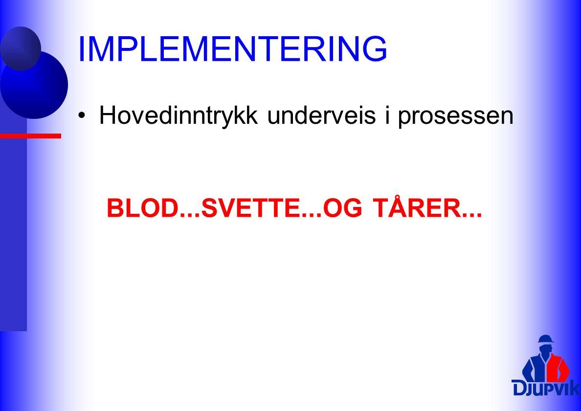 IMPLEMENTERING BLOD...SVETTE...OG TÅRER...