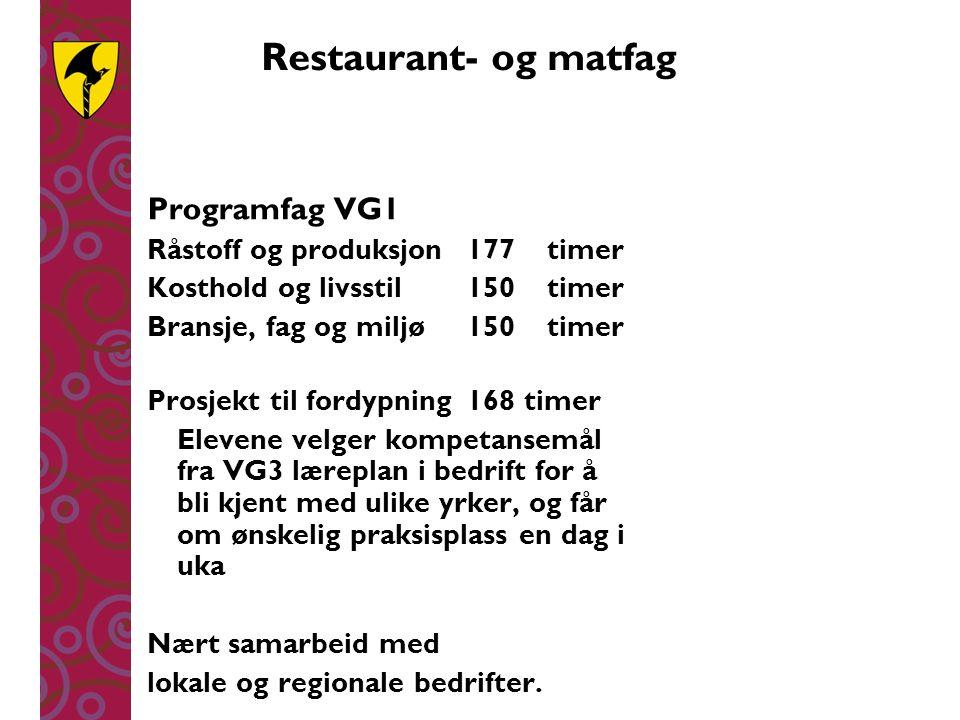 Restaurant- og matfag Programfag VG1 Råstoff og produksjon 177 timer
