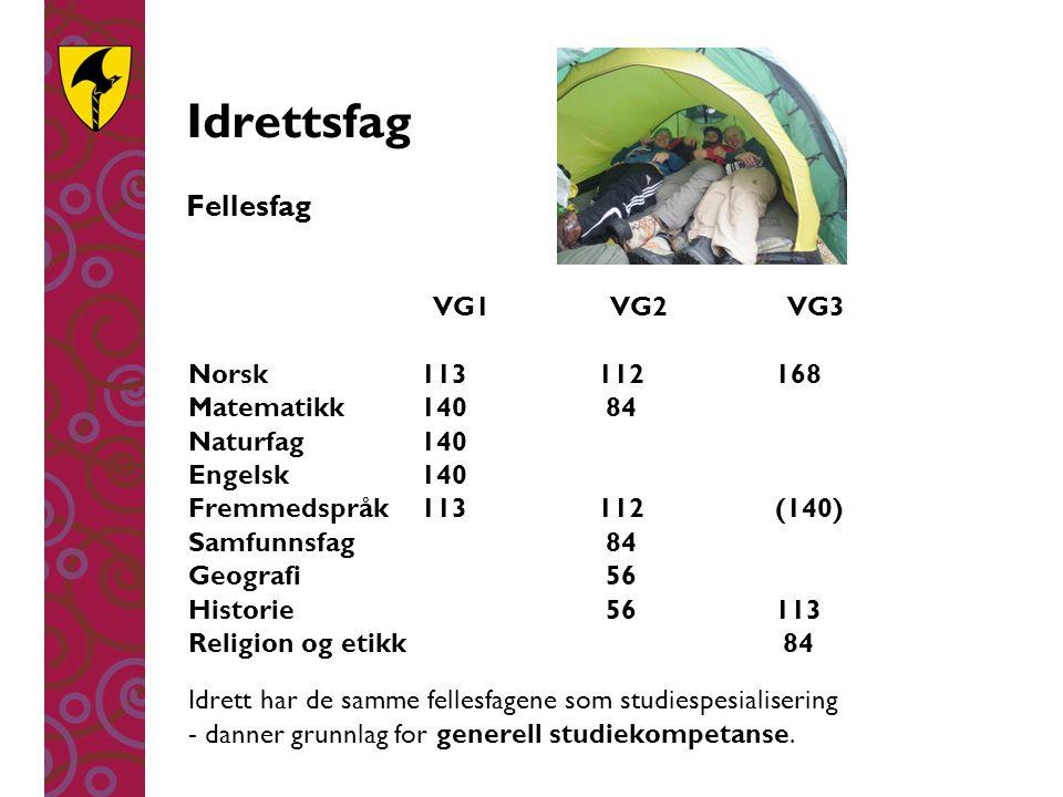 Idrettsfag Fellesfag VG1 VG2 VG3 Norsk 113 112 168 Matematikk 140 84