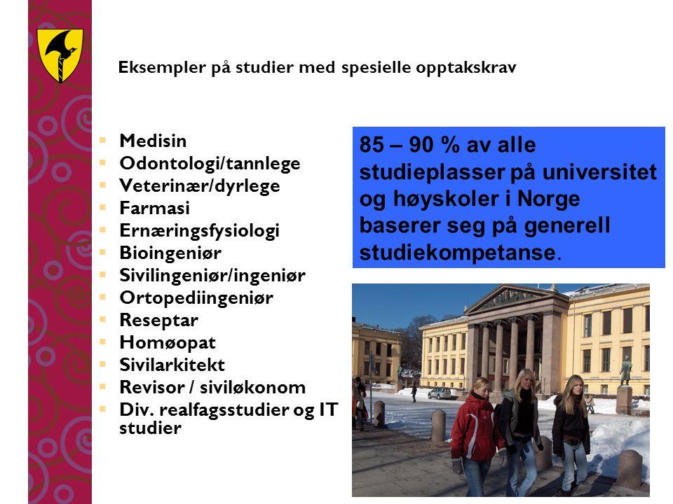 Eksempler på studier med spesielle opptakskrav