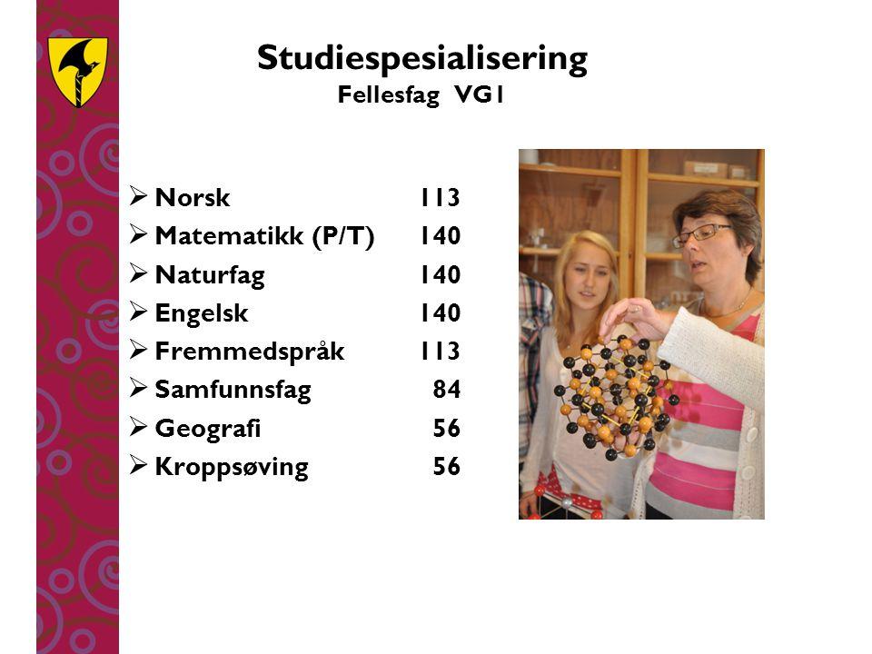 Studiespesialisering Fellesfag VG1
