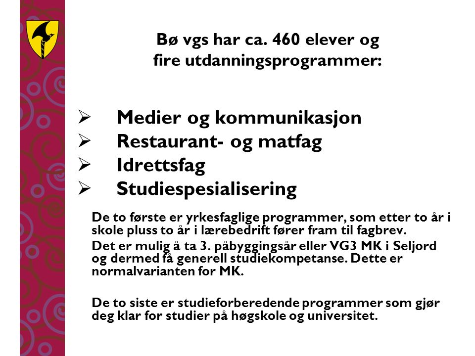 Bø vgs har ca. 460 elever og fire utdanningsprogrammer: