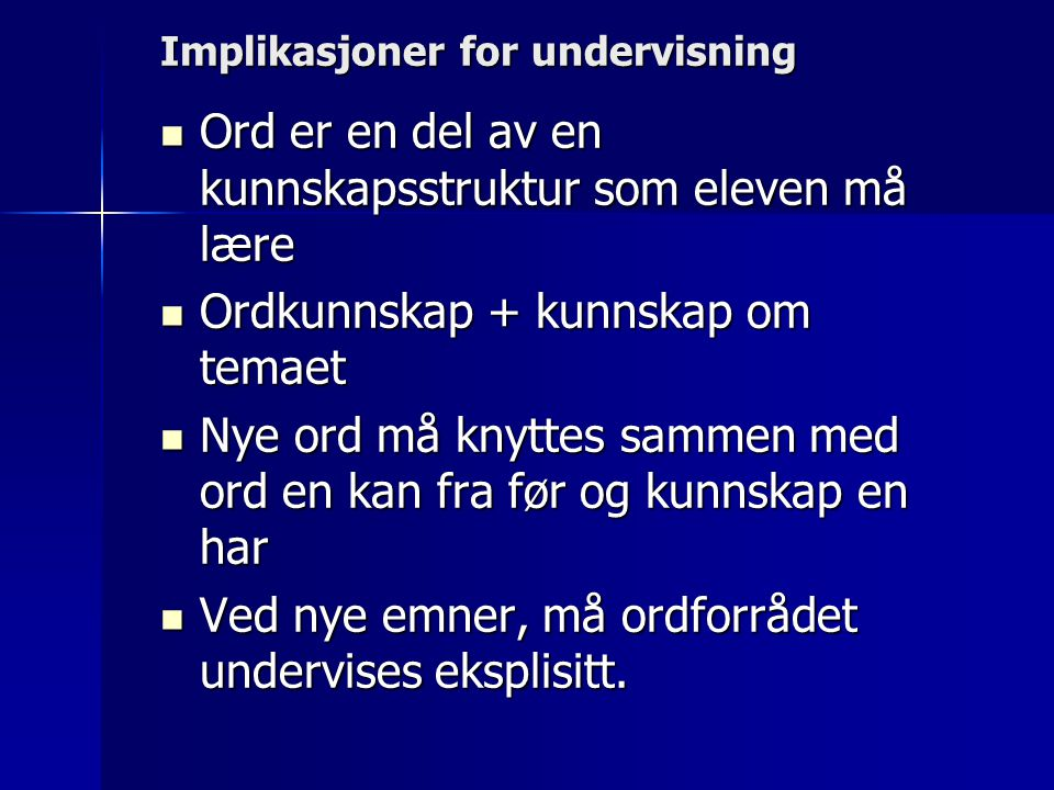 Implikasjoner for undervisning