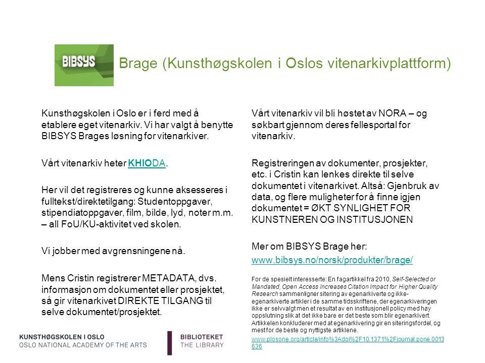 Brage (Kunsthøgskolen i Oslos vitenarkivplattform)