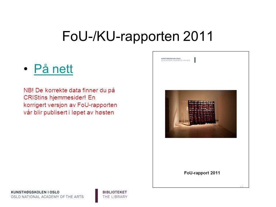 FoU-/KU-rapporten 2011 På nett