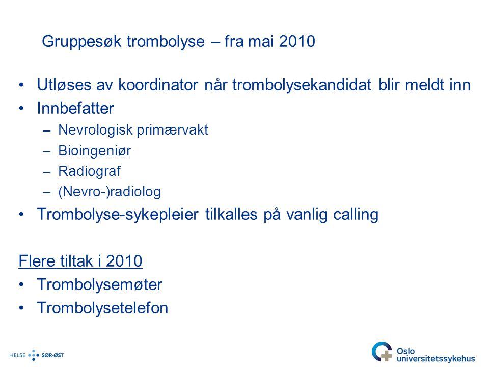 Gruppesøk trombolyse – fra mai 2010