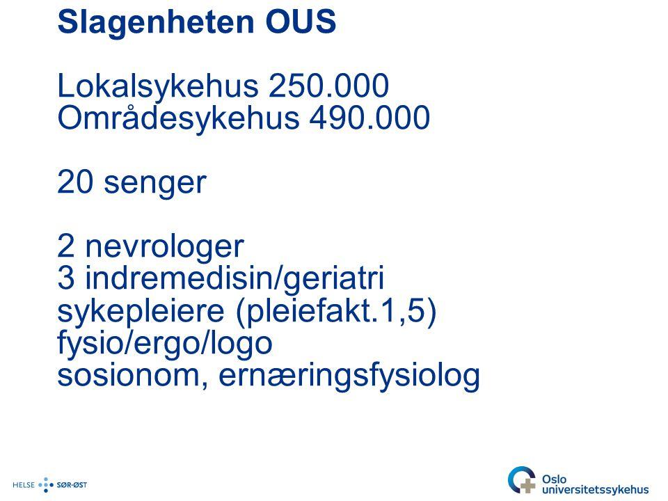 Slagenheten OUS Lokalsykehus 250. 000 Områdesykehus 490