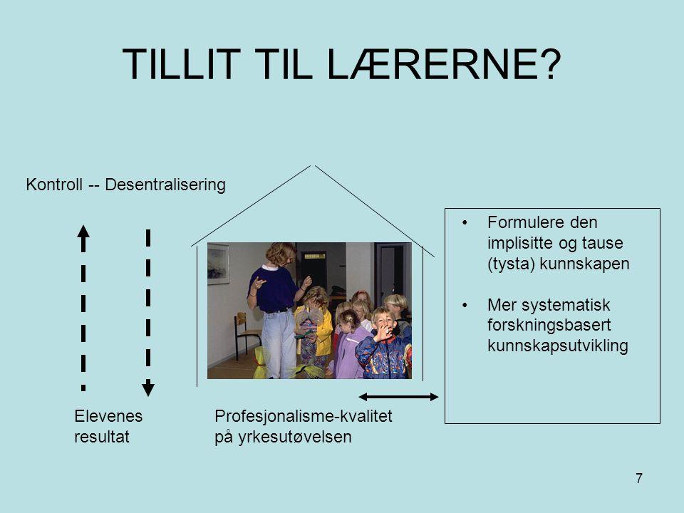 TILLIT TIL LÆRERNE Kontroll -- Desentralisering