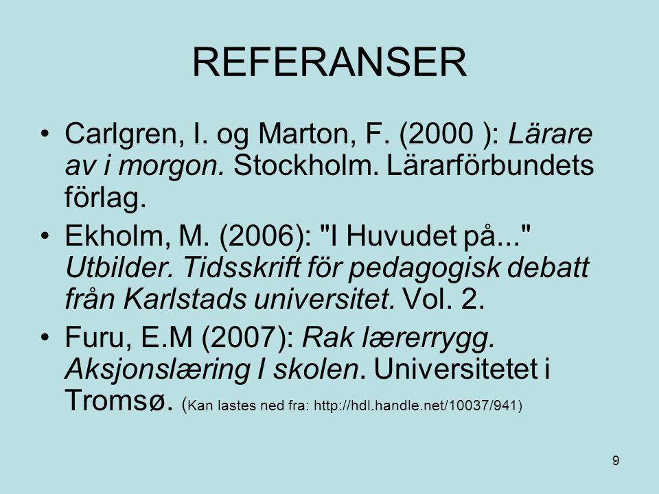 REFERANSER Carlgren, I. og Marton, F. (2000 ): Lärare av i morgon. Stockholm. Lärarförbundets förlag.