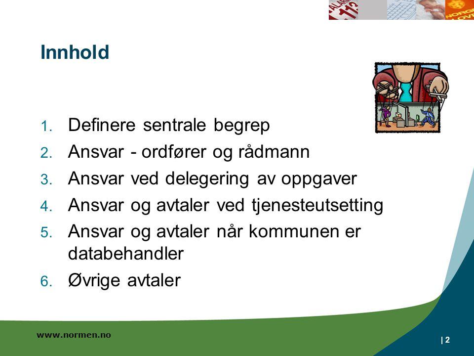 Innhold Definere sentrale begrep Ansvar - ordfører og rådmann