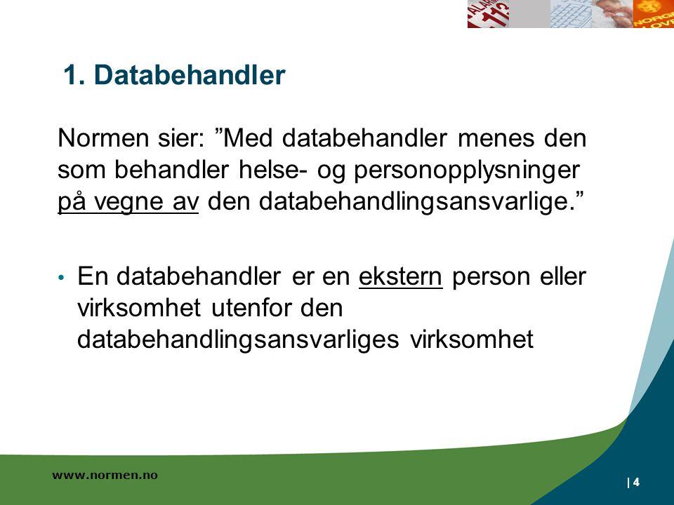 1. Databehandler Normen sier: Med databehandler menes den som behandler helse- og personopplysninger på vegne av den databehandlingsansvarlige.