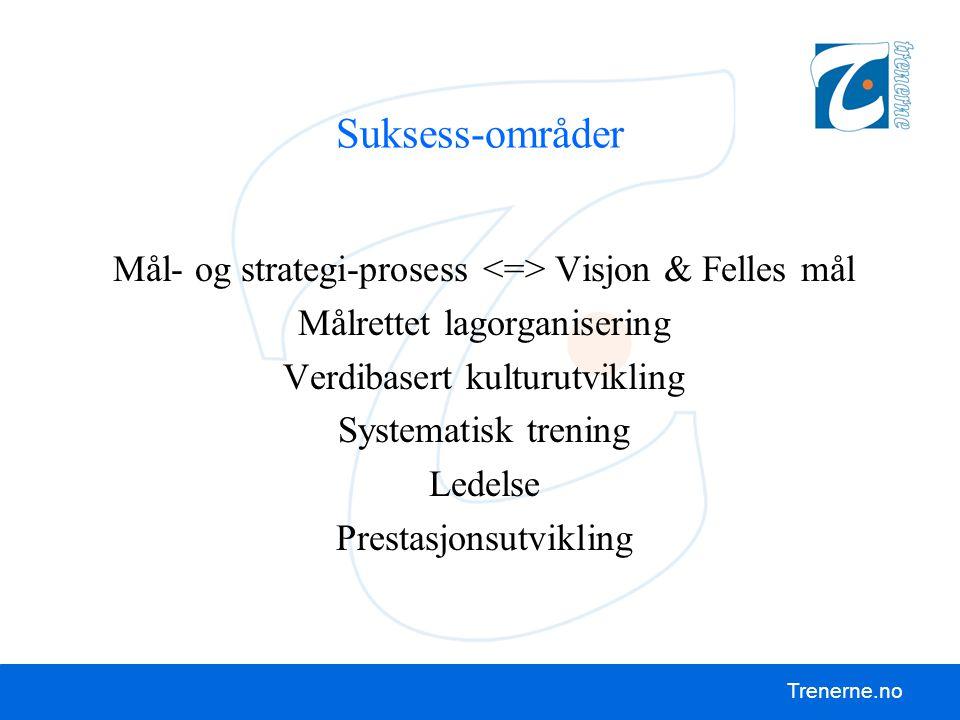 Suksess-områder Mål- og strategi-prosess <=> Visjon & Felles mål